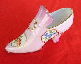 German Stunning Vintage Pink Porcelain Ladys Victorian Shoe Gold Trim Fl... - $38.99