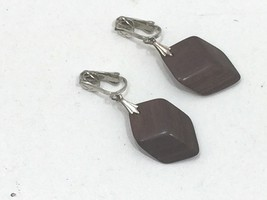 Vintage Brown Wood Dangle Earrings Drop Bead Beaded Polished Wooden 24270 - $7.99