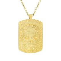 """Men's Stainless Steel Gold IP-Tone Skull Head Dog Tag Pendant Necklace, 24"""" - $34.99"""