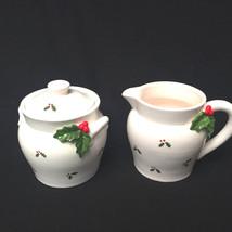 Vintage Otagiri Christmas Holiday Cream And Sugar Holly Berrys Japan - $27.72