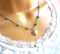 Tiny Matte Silver Heart Locket Turquoise Beaded Necklace Bohemian Necklace - $42.00