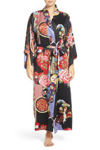 NWT New Designer Natori Wrap Robe Womens S Silky Satin Flowers Blue Red White image 2