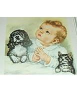 "VINTAGE Framed PLEASE Baby PRINT Dog & Cat Nursery Child Praying 9"" x 11""  - $49.45"