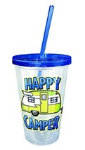Spoontiques 16211 Happy Camper Acrylic Cup Straw, Blue - $9.86