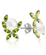 3.25 Carat 14K Solid White Gold Stud Earrings Natural Peridot pearl - $183.56