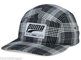 PUMA Plaid Retro Patch 5 Panel Camper Racer Style Cap Black White Gray O... - £14.24 GBP