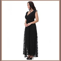 Long Plus Size Sleeveless Black Lined Lace Maxi W/ Ribbon Tied Empire Waist Gown image 3