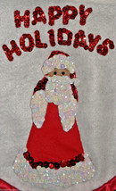 """Santa Claus Sequined Happy Holidays Wall Hanging Tapestry 13"""" x 16"""" Hand... - $14.98"""