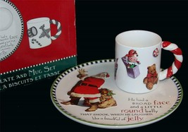 Hallmark Twas the Night Before... Ceramic Embossed Santa Mug & Cookie Pl... - $32.99