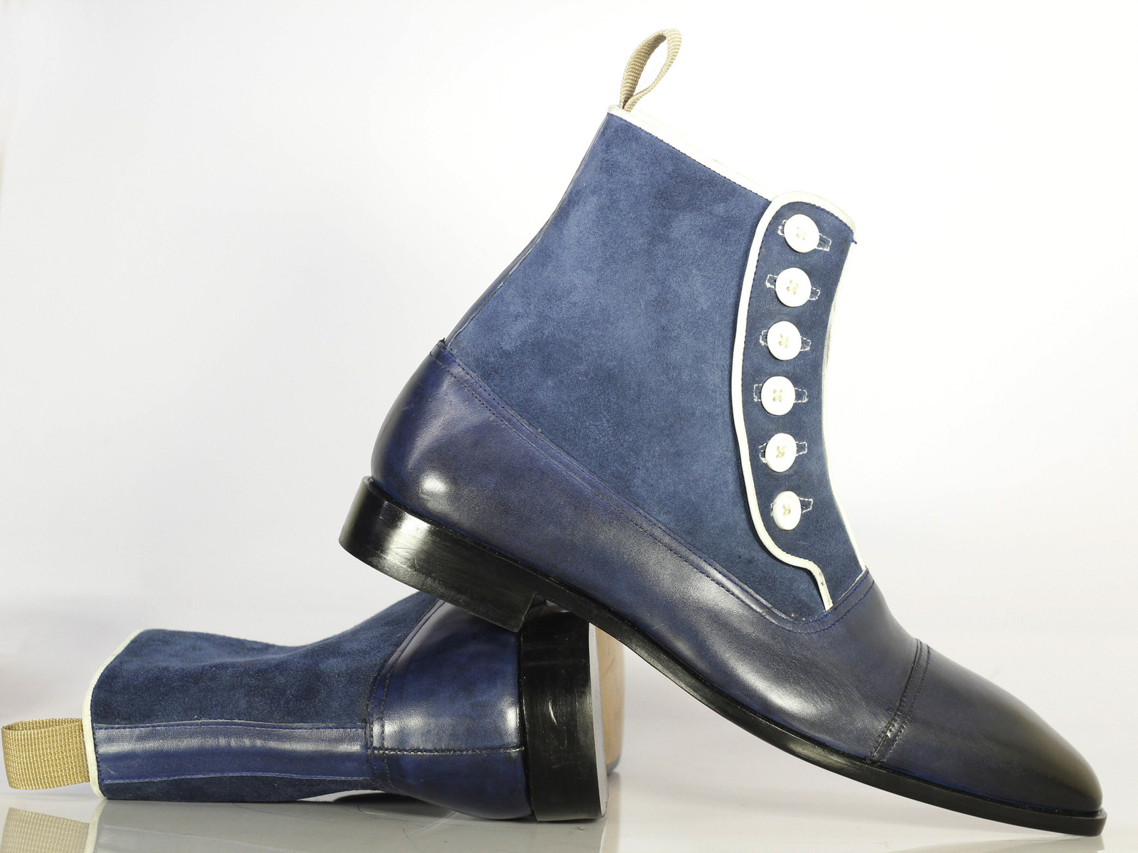 Primary image for Handmade Bespoke Men Navy Black Button top Ankle High Leather Boots