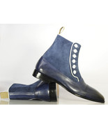 Handmade Bespoke Men Navy Black Button top Ankle High Leather Boots - $159.97 - $169.97
