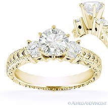 Forever One D-E-F Round Cut Moissanite 14k Yellow Gold 3-Stone Engagemen... - £803.70 GBP+
