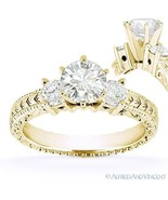 Forever One D-E-F Round Cut Moissanite 14k Yellow Gold 3-Stone Engagemen... - €779,58 EUR+