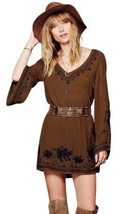 Free People Sky Fall Embroidered Mini Dress Olive Green Black Small High... - $34.65