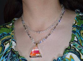 AB Crystal Pyramid Drop Double Strand Necklace image 5