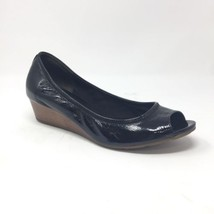 Cole Haan Air Tali Black Patent Leather Peep Toe Wedge Heels Size 9.5 B ... - $29.02