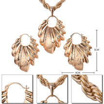 Ethlyn Nigerian/African Wedding Jewelry Set Hollow Leaf Pendant Necklace Earring image 3