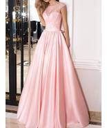 Elegant A-line Long Satin Prom Dress/Bridesmaid Dress with Hand Made Bow - $193.00