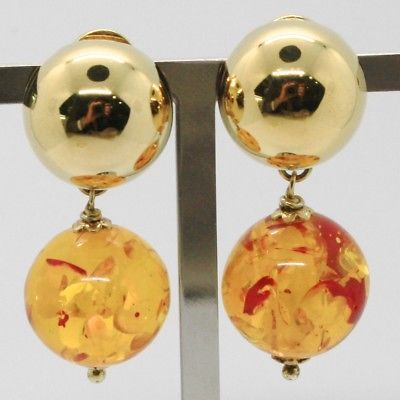 925 STERLING YELLOW SILVER PENDANT HALF BALL CLIPS EARRINGS WITH AMBER SPHERE
