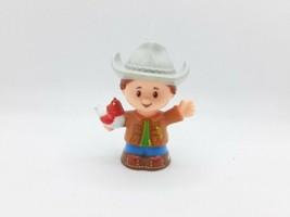 Fisher Price Little People Farm Boy Farmer Rancher Barn Grey Hat Chicken - $5.27