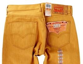 Levi's 501 Men's Original Fit Straight Leg Jeans Button Fly Gold 501-1817