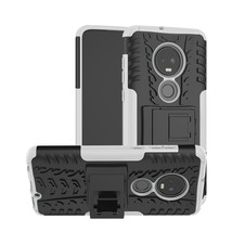Tire Texture TPU+PC Shockproof Case for Motorola G7, with Holder (White) - $4.77