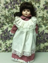Vintage, 16in Brunette Doll in Pink and White Peasant Dress - $17.05