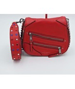 Nuova con Etichetta Marc Jacobs Pyt Borchiato pelle Rossa Saddle a Tracolla - $344.81