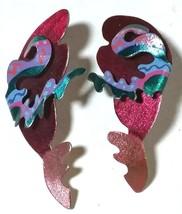 MODERNIST ABSTRACT NOBIUM ARTISTIC LARGE PINK BLUE ENAMEL EARRINGS - $60.00