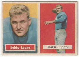1957 Topps Football - Bobby Layne - #32 - EX Condition - $39.59