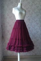 Burgundy Ballerina Tulle Skirt A-Line Layered Puffy Ballet Tulle Tutu Skirt image 2