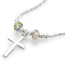 Choice of Cross Pendants Made with Swarovski Crystals 925 Sterling Silve... - $86.45