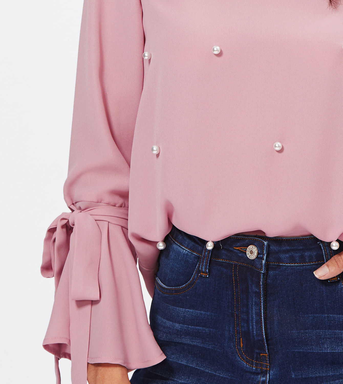 Pearl Embellished Bow Tied Bell Cuff Flounce Sleeve Pink Elegant Blouse Top