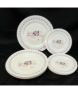 Arcopal Farm House Red Barn Dinner and Salad Plates Lot of 8 - $32.29