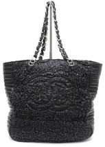 CHANEL Black Lambskin Leather Tote Bag Large Silver Chain Ruched LTD EDI... - $9,025.00