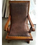 British Colonial Style Lazy Plantation Chair with PU Leather Seat - $522.83