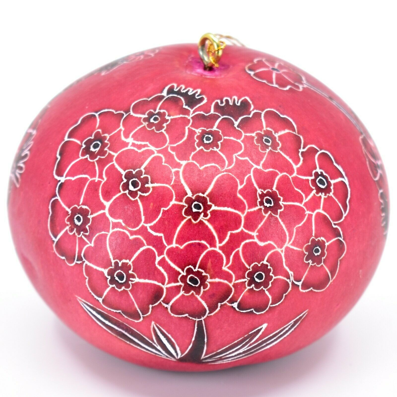 Handcrafted Carved Gourd Art Red Primose Flower Floral Ornament Made in Peru