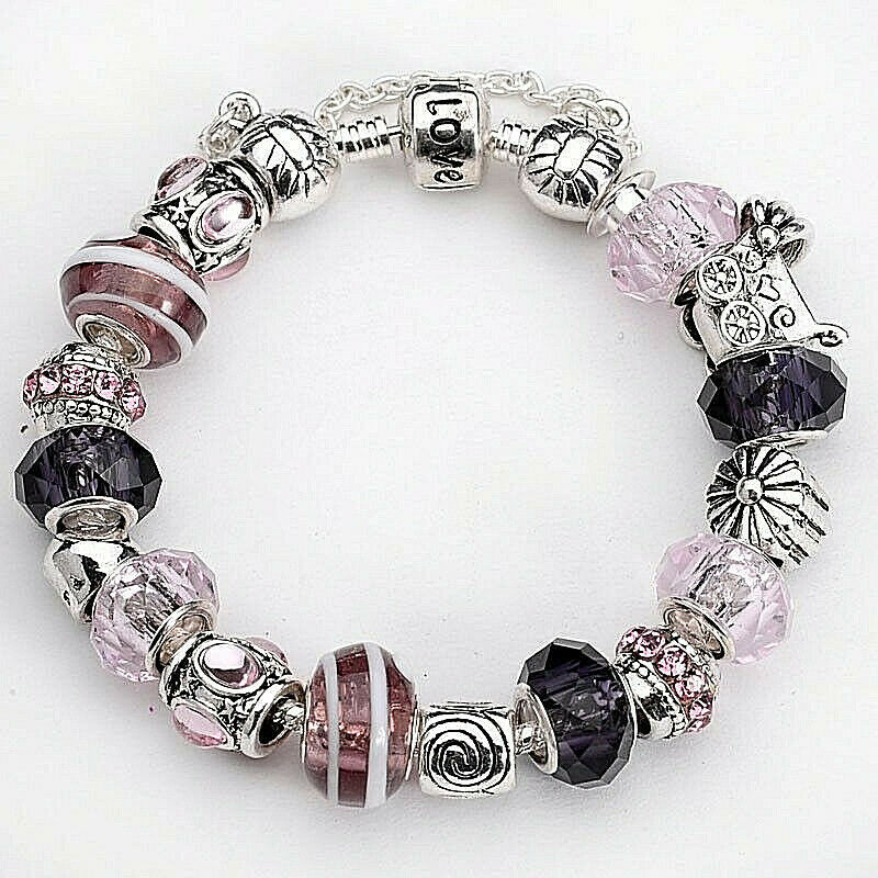 Primary image for Charm Bracelet with Pink and Black Beads Sterling Silver NEW