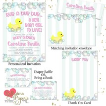 Duck Baby Shower Rubber Duckies Invitations Bubbles Personalized Pink Ba... - £15.87 GBP