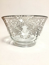 Antique Glass Bowl with Sterling Silver Floral Painted Overlay - $25.00
