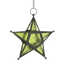Green Glass Star Lantern Candle Holder - $11.01