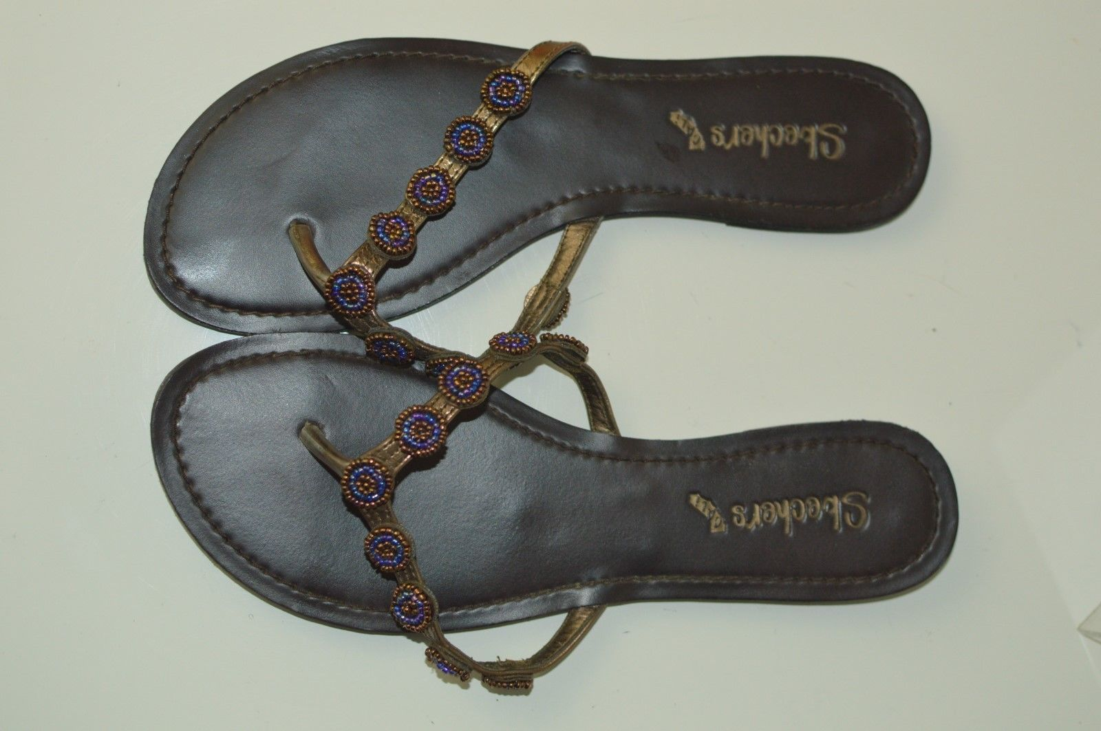 SKECHER'S CALI LEATHER BROWN BEADED THONG SANDALS WOMEN'S SHOES SIZE 8