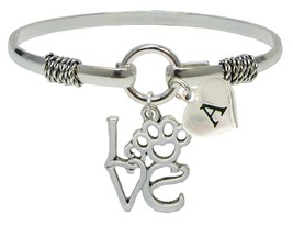 Custom Love Paw Animal Lover Silver Only Bracelet Jewelry Choose Initial Family - $14.87