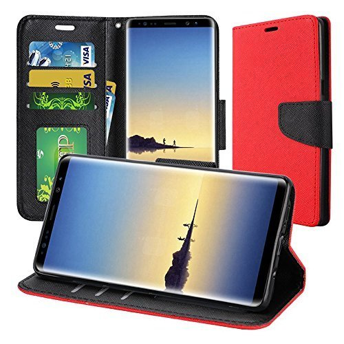 Wallet Flip Credit Card Case With Stand - RED for Samsung Galaxy Note8