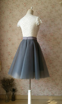 DARK GRAY Tulle Midi Skirt Women Full Circle Tulle Party Skirts High Waist Plus image 3