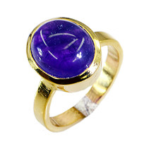 fine-looking Amethyst Gold Plated Purple Ring Natural Designer US gift - $24.99