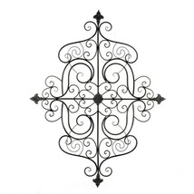 Mediterranean Style Iron Scrollwork Plaque Wall Decor w/ Fleur De Lis Ac... - $69.45