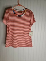 New Cherokee Pink Stripped Short Sleeve Shirt size small - $38.69