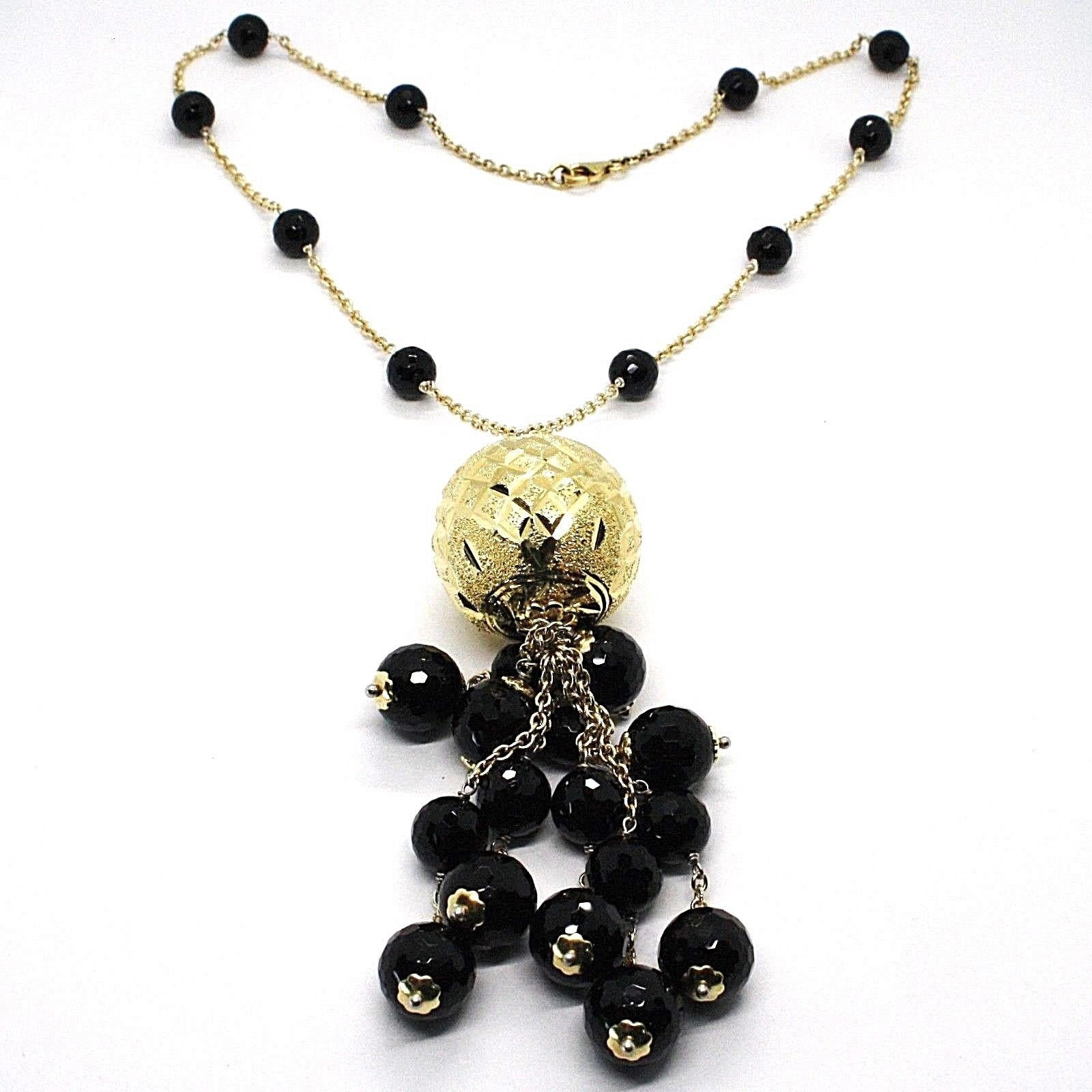 Silver necklace 925, Yellow, Large Machined Ball, BLACK ONYX Waterfall