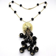 Silver necklace 925, Yellow, Large Machined Ball, BLACK ONYX Waterfall image 1